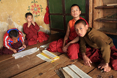 Hello (Qiche) Tags: people boys asian temple person asia bhutan buddhist buddhism monastery studying bhutanese novices chimilhakhang