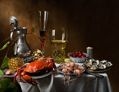Still Life with Crab and Scampi (kevsyd) Tags: stilllife crab oysters scampi pineapplecup 645d kevinbest dutchstilllife