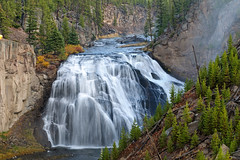 Gibbon Falls (Cheating?) (bhophotos) Tags: trip travel autumn vacation usa nature water photoshop river landscape geotagged nikon falls yellowstonenationalpark yellowstone wyoming ynp cheating d300 cs3 gibbonriver gibbonfalls 80200mmf28dnew bruceoakley
