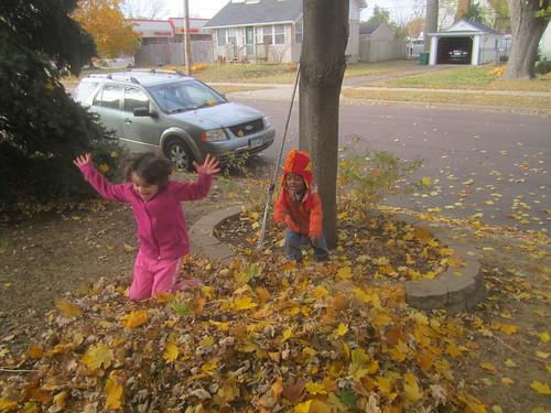 fall leaves crunching
