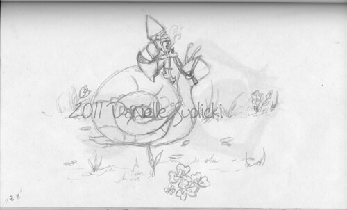 gnome on a snail sketch