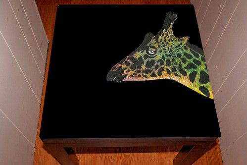 "Giraffe Design on 22"" x 22"" Table by Rick Cheadle Art and Designs"