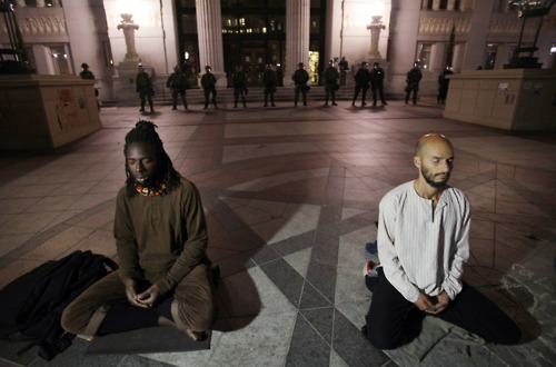 Meditators at Occupy Oakland before raid