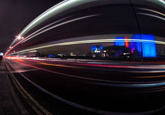 The National Theatre (Sean Batten) Tags: road uk blue red england bus london night fisheye lighttrails nationaltheatre waterloobridge lightburst