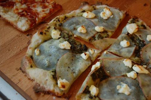 Sorrel Pesto and Potato Pizza