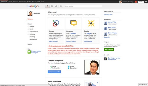 Google+ Welcome Page