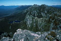 Western Arthurs, 1984 (NettyA) Tags: world park mountains southwest west heritage film 35mm rocks mt hiking south lakes australia slide unesco national backpacking bushwalking 1984 scanned tasmania kodachrome wilderness hesperus quartzite westernarthurs janettetomsett