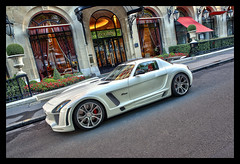 HDR white Mercedes Benz SLS Fab Design  - Plaza Athene Paris (_PEC_) Tags: auto park plaza fab white paris france car canon mercedes benz hotel design photo automobile pix photographie image picture engine pic voiture coche carro avenue hdr sls montaigne  pec machina 2011 traitement   worldcars athene 5dmarkii photoengine ling oloneo jidousha