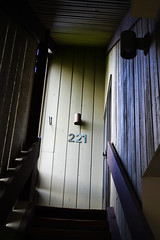 221 (kelly.grace) Tags: door blue light brown green colors stairs nikon shadows number wyoming 221 jacksonhole d3100