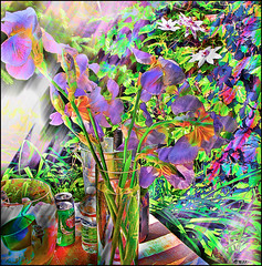 Still Life With Irises (Tim Noonan) Tags: flowers stilllife abstract colour art digital photoshop garden colours vivid manipulation imagination layers shining irises hypothetical vividimagination shockofthenew sotn sharingart maxfudge awardtree maxfudgeexcellence maxfudgeawardandexcellencegroup netartii vividnationexcellencegroup