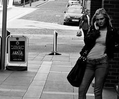 Urban booking (18mm & Other Stuff) Tags: life street city england urban blackandwhite bw art monochrome liverpool lens prime candid streetphotography documentary merseyside booking cityurban canon40d50mm