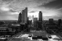 City of London skyline from Bishopsgate Tower (bobaliciouslondon) Tags: white black canon property broadgate corporation strata abovealtitude 30stmaryaxe tower42 offices bishopsgate thegherkin cityoflondon 30d londonskyline elephantcastle londonbuildings londonsky shardofglass britishland herontower bishopsgatetower heroninternational herongroup