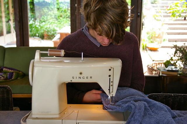 he sews