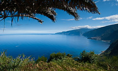 Deepest Blue (Ren Ehrhardt) Tags: ocean travel blue trees sea summer panorama seascape mountains west portugal nature photoshop island photography coast photo north deep tranquility palm atlantic coastal valley views montage stitching viewpoint madeira stitched merge archipelago merging ribeiradajanela