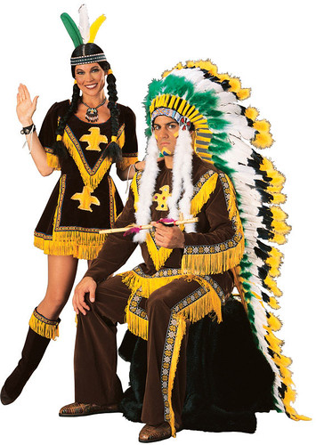 man and woman dressed as Native people looking like jerks