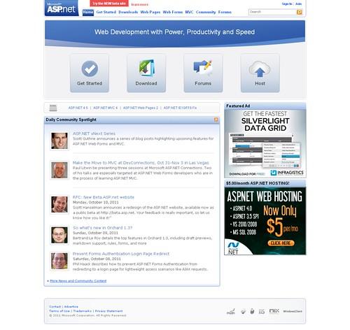 ASP.NET Home Page (circa Oct 2011)