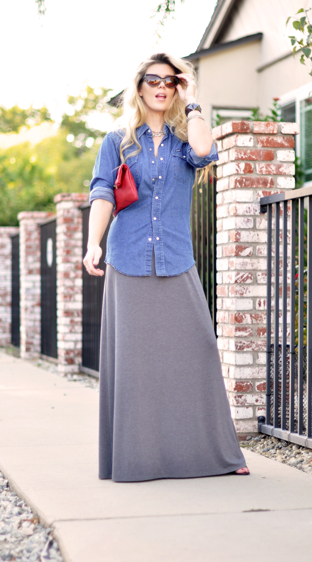 long hair-maxi dress-denim shirt-red clutch-cat eye sunglasses