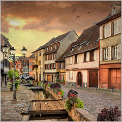 3 small bridges (Jean-Michel Priaux) Tags: bridge houses france architecture photoshop river painting way nikon niceshot village maisons alsace maison rue hdr textured barr pavel colombages d90 priaux mywinners mygearandme ringexcellence flickrstruereflectionlevel1 masterclasselite