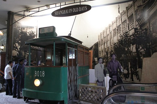 Old tram on display at People's Square underground mall, Shanghai, China