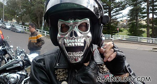 The attention grabbing skull mask guy