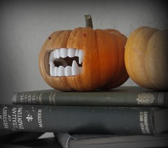Raahaaaaa! (almostbunnies) Tags: old halloween vintage pumpkin fun diy scary craft mini carving spooky marthastewart etsy fang antiquebooks