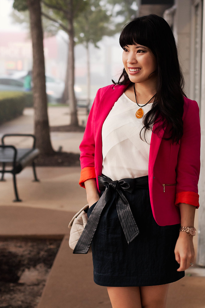 zara hot pink blazer, banana republic pleated chiffon blouse, faux leather sash, bakers blue suede mary jane pumps, michael kors rose gold small runway watch mk5430, yesstyle beige quilted flap purse