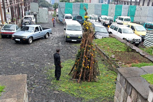 Preparing the bonfire for Meskel