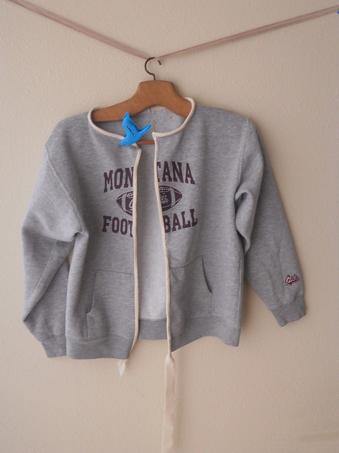 Cardigan from old hoodie