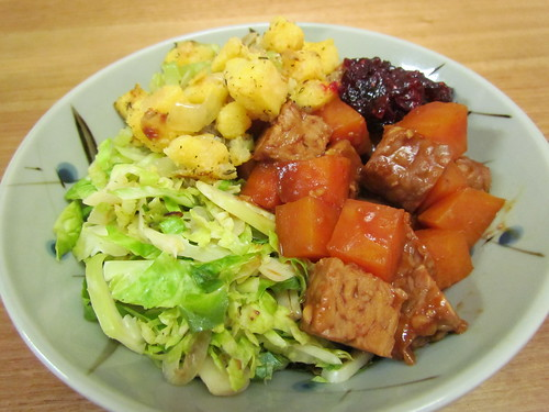 Tamarind BBQ Tempeh & Sweet Potatoes; Shaved Brussels Sprouts; Polenta Stuffing