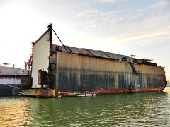CIA's Hughes Mining Barge: 'Sea Shadow' floating storage (Konabish ~ Greg Bishop) Tags: california abandoned water sailboat boat ship view pacific cia bridges sandbar center iowa covert stealth tugboat tug battleship usnavy added usn crusty uss warship corroded shoal crowley mothballfleet uscg ussiowa offlimits suisunbay ghostfleet tractortug marad bb61 beniciacalifornia k129 fossmaritime crowleymaritime tugboatamerica hughesminingbarge baydeltamaritime tugboattow tugboatgoliah tugboatdeltabillie tugboatdeltacathryn projectazorian russiansubmarinek129recovery grpstags11171246015