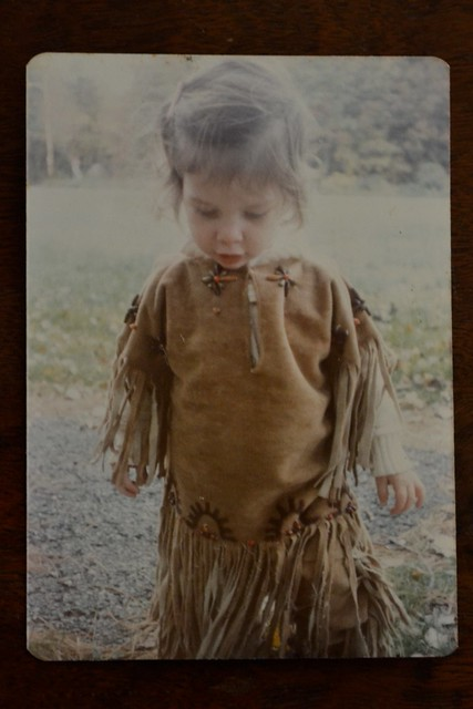 Baby Amy wearing my outgrown halloween costume, mama made this by hand