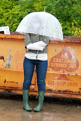 Rain outfit - wellies, jeans, sweater, umbrella