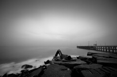 The silent music (MRK Clicks) Tags: sea blackandwhite bw music india beach blackwhite nikon peace silent streetphotography calm moment envy mylife tamilnadu pondicherry composed lyingdown pondy mrk musicoflife mrkclicks