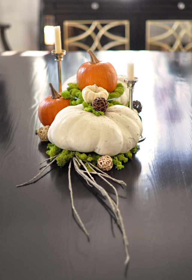 Thanksgiving centerpiece with pumpkins