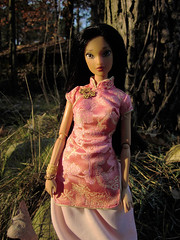 045 (Alrunia) Tags: park autumn fall nature garden toy outdoors ballerina doll handmade barbie disney hybrid headswap fashiondoll mattel pocahontas qipao fashionistas cheongsam jakkspacific rebody restyle fashionfever 16thscale playscale bodyswap