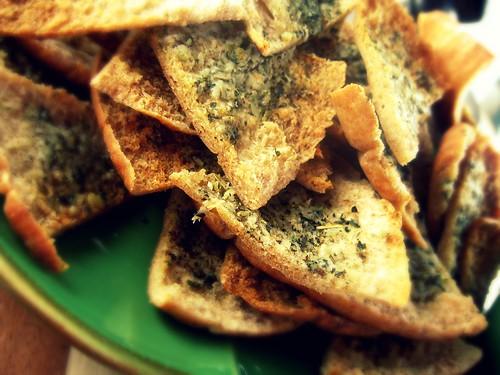 pita chips close up