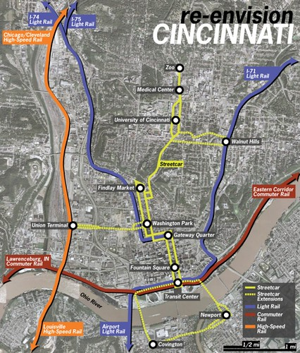 streetcar route as fully contemplated  in yellow (courtesy of Urban Cincy)