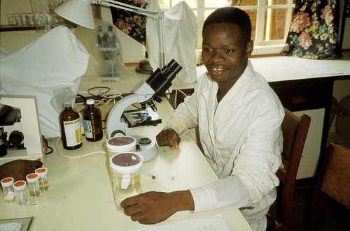 Aquaculture scientist at work, Malawi. Photo by Randall Brummett, 2002