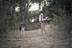 Simona and Elrond during last summer (manlio_k) Tags: wood italy dog canon dof simona 135mm elrond 60d puntalicosa