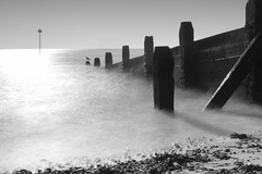 Sunlit Groynes (Anthony Owen-Jones) Tags: ocean uk longexposure sea england blackandwhite bw sun white mist seascape black bird beach water monochrome lines canon lens landscape eos rebel mono coast landscapes photo seaside kiss europe long exposure unitedkingdom picture naturallight minimal filter photograph ethereal nd kit essex postprocess southend minimalist bnw groynes westcliff t3i x5 onsea 600d chalkwell takenwith 10stop nd110 canonefs1855mmf3556is rebelt3i kissx5