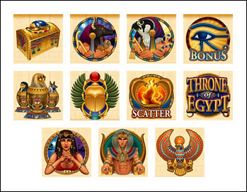 free Throne of Egypt slot game symbols