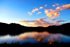 Estes Park (ChristineDepretto) Tags: travel sunset summer sky usa mountain lake holiday colour reflection nature water clouds landscape photography photo nikon colorado tramonto supershot usavacation flickraward nikonflickraward