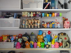 The toys have invaded our dresser shelves! (Kewty-pie) Tags: toys kubrick domo moomins qee mylittlepony uglydolls cheburashka strawberrymarshmallow onsenmanju