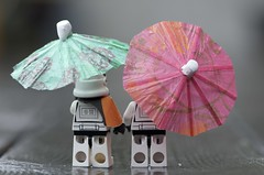 Out walking in the rain (Kalexanderson) Tags: pink stilllife trooper green rain umbrella toys starwars lego sweden stockholm son troopers stormtrooper fatherandson sandtrooper familylife ordinarylife 365daysofstormtroopers stormtrooperandson