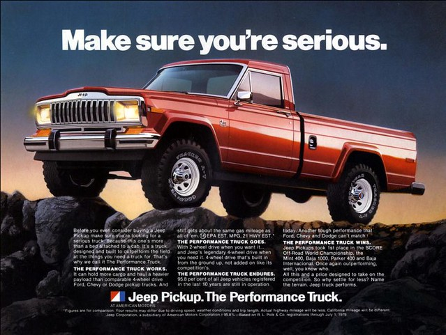 red jeep ad advertisement 1980 gladiator jeeptruck jeepad performancetruck jeeppickup jeepbrand jeepadvertisement