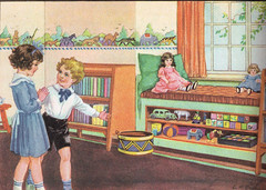 The children were happy in their beautiful new playroom [L (katinthecupboard) Tags: art reader vintagechildrensbooks childrens lkatedeal vintage illustrations vintagechildrensprimer vintagechildrenstextbooks vintagechildrensreaders vintagechildrensartbooks
