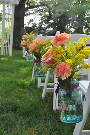 Mason Jars for Ceremony Aisle Markers