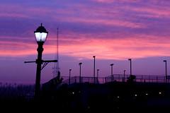 The Violet Hour (Moniza*) Tags: light sunset sky seascape nature lamp silhouette clouds sunrise landscape newjersey twilight nikon post nj shore jersey bluehour jerseyshore longbranch d90 moniza