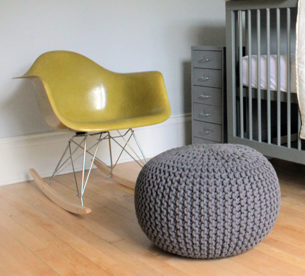 Eames Rocking Chair and Grey Pouf
