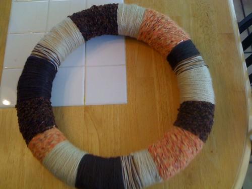 yarn wreath wrapped!